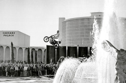 Legend has it that on the morning of the epic jump, Evel Knievel popped into the Caesars Palace casino and lost his last 100 dollars at the blackjack table, had a shot of Wild Turkey at the bar, then headed outside to the jump site where he was joined by two showgirls. He went through the motions for the pre-jump show, and took a few routine warm-up approaches. According to Knievel, on the actual approach the motorcycle unexpectedly decelerated when he hit the takeoff ramp. The sudden loss of speed caused Knievel to come up short of the projected 141 feet, and he landed on the safety ramp supported by a van. The bad news was– the resulting crash left Knievel in a coma for a month, a crushed pelvis and femur, as well as fractures to his hip, wrist and both ankles. The doctors flatly told him he may never even walk on his own again. Read more…