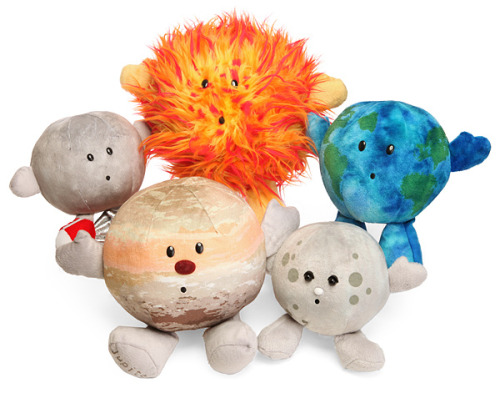 Plushie Celestial Bodies on ThinkGeek. Available bodies are: Sun, Mercury, Earth, Moon, Mars, Jupiter, Saturn. Coming soon: Venus, Uranus, Neptune. I'mma hold out for Uranus, methinks.