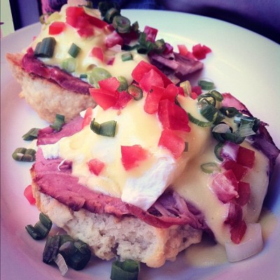 Egg Benedict #clintonstreetbakingcompany #NYC #eggbenedict #egg #ham #biscuit #yummy #brunch #jj #snap #food #ig  (Taken with Instagram)