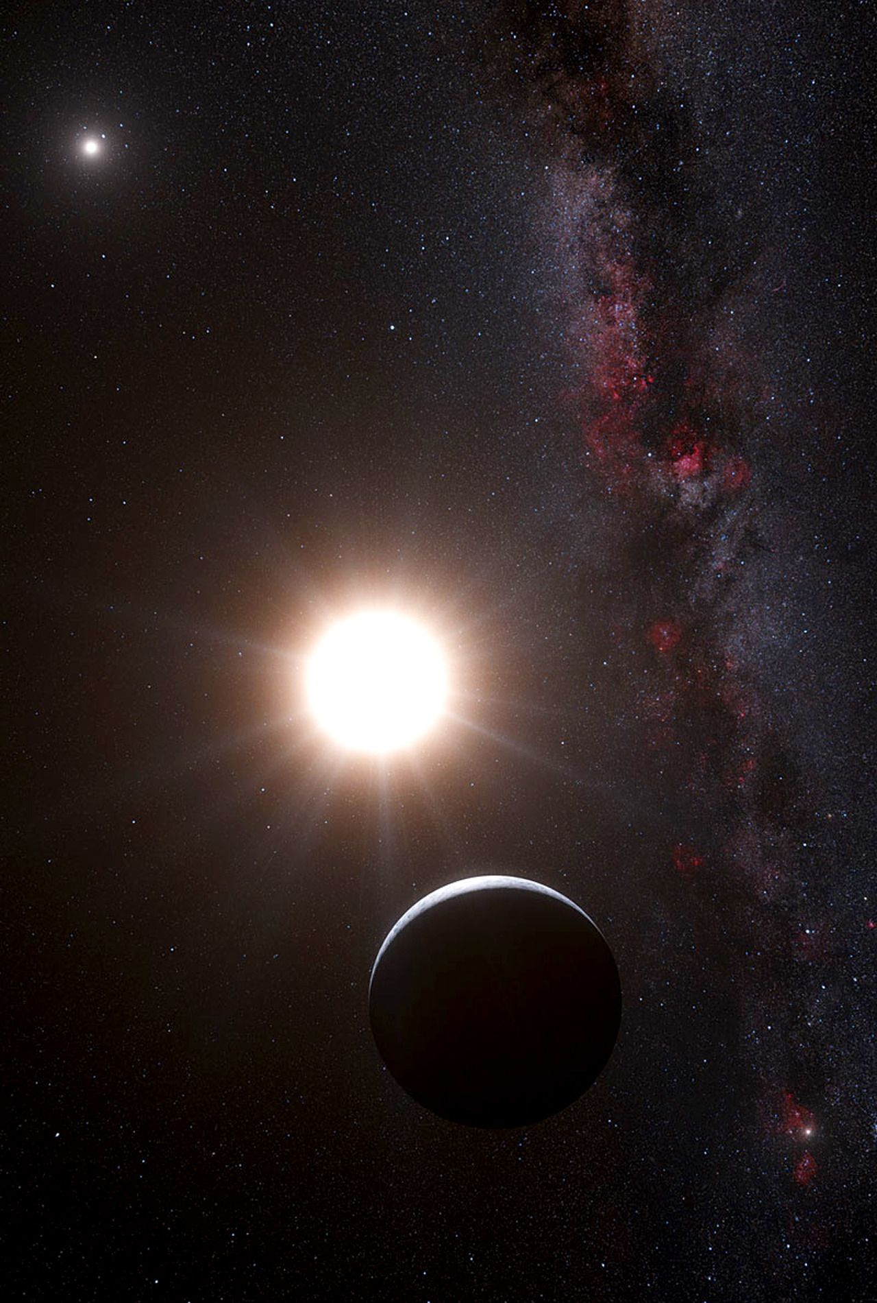 Astronomers at the European Southern Observatory have discovered a planet approximately the same size as Earth orbiting Alpha Centauri B, one of the closest stars to our own. The Alpha Centauri system is only 4.3 light years away, and it is the most logical destination for the first interstellar spacecraft.  Until now no planets had been detected in this system, which has two co-orbiting stars.  The newly discovered planet orbits Alpha Centauri B, which is 90% as massive and 50% as luminous as our Sun.  The planet completes an orbit every 3.2 days at a distance of 0.04 AU, far to close to support liquid water.  However this discovery indicates that Earth-mass planets are within our ability to detect in nearby star systems.  The planet was detected using the HARPS instrument on the 3.6-metre telescope at ESO's La Silla Observatory in Chile. The results will appear online in the journal Nature on 17 October 2012. Read the full paper here