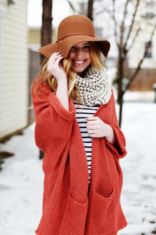 Staples: circle scarf, stripes, and oversized sweater.