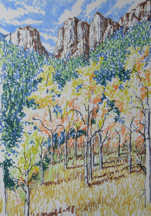 Golden Gate Impression, colored markers, October 2012