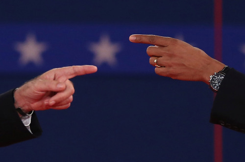 The story of Tuesday's debate in one single photo. (Spencer Platt/Getty Images)