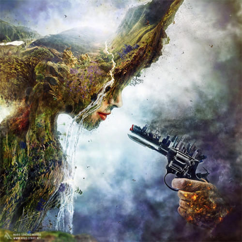"ianbrooks:  Betrayal by Mario Sánchez Nevado What chance does Mother Nature have when we've pulled the cold, hard gun of industry on her? Illustration developed for the release of the international artistic collective Hysterical Minds ""Empathy"" and available for usage in CD cover, along with prints available at DeviantArt.   Artist: Behance / Website    fuuuuuuug…"