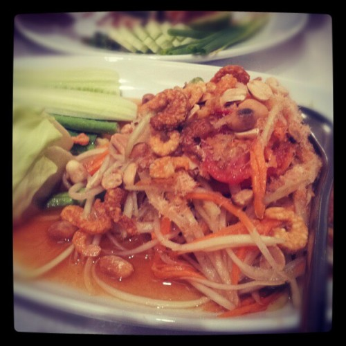 Nothing like a good plate of #somtam in #Bangkok :-)  #papaya #salad #cucumbers #appetizers #thailand #spicy #food #samsunggalaxysii #android  (Taken with Instagram)