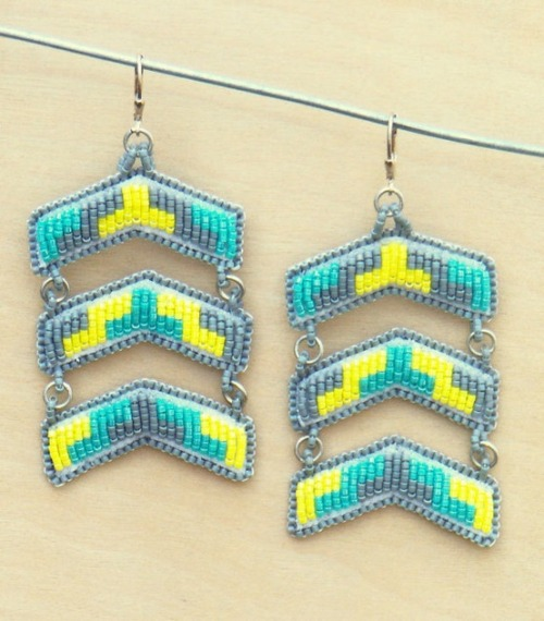 Yellow and Turquoise Chevron Chandelier Earrings by Molly Murphy Adams (Oglala Lakota descendant).
