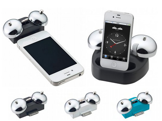 Alarm clock dock with twin bells for iPhone