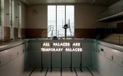 freundevonfreunden:  Robert Montgomery's Echoes of Voices in the High Towers Neue Berliner Räume presented this summer Echoes of Voices in the High Towers, an exhibition project with British word artist Robert Montgomery that took place at Tempelhof Airport and other locations. Montgomery is known for his poetic insights, creating posters and other such mediums while he smartly flaunts his adjectives and nouns.  This upcoming Thursday, the 18th of October, the book presentation and vernissage will take place at 8PM at Gerichtstraße 65 in Wedding, Berlin. This should not be missed out on.