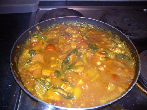 veg curry with coconut milk