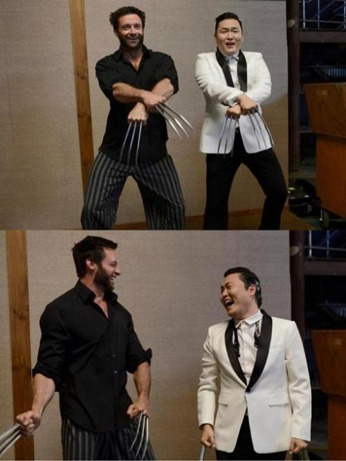 Hugh Jackman and Psy Oppa slicing Gangnam Style