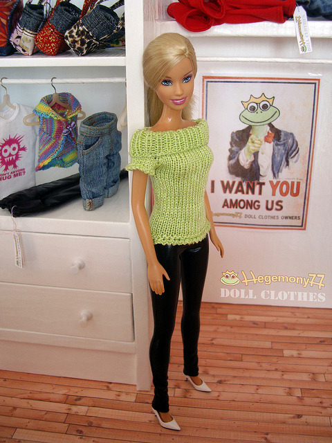 Barbie doll in hand knitted stretchy top made of green yarn that made me want to create something out of it on Flickr.Doll clothes and photo made by Hegemony77