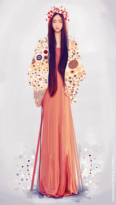 Tribute to Klimt, Photoshop painting. Reference used : http://lookbook.nu/look/4129926-GARDEN-PARTY