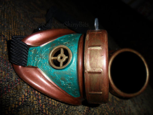 Teal and Copper Steampunk Goggles with Thumbscrew by RandomShinyBits