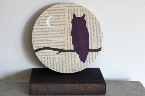 Purple Owl Woodland Wall Art Owl on a by FiddleheadsForFiona