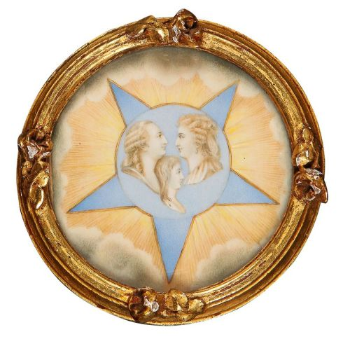 tiny-librarian:  Portrait medallion with images of Louis XVI, Marie Antoinette, and Louis Charles.