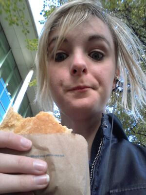 kainmaxy:  And here is Jess's face  Greggs is now my life.