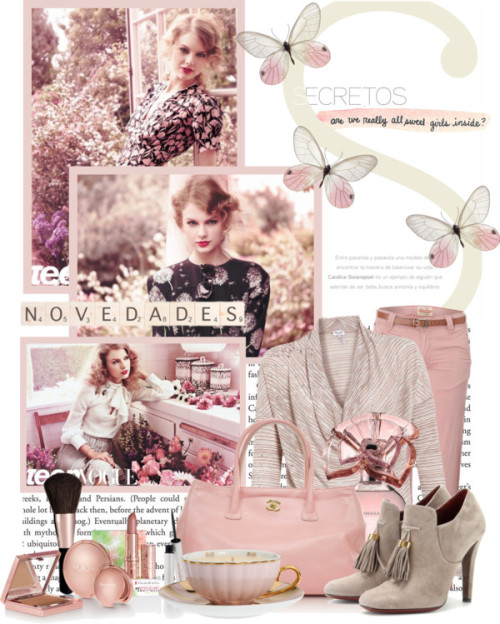 TTTTaylor Swift!!!! by queenrachietemplateaddict featuring a zippered tote bagSplendid cowl neck sweater / Tommy Hilfiger straight leg pants, $115 / Gucci high heels / Chanel zippered tote bag / Elizabeth Arden  makeup / BCBG Max Azria  / MOR Cosmetics Tea Cup Candle 256g / ¡Novedades!, $34