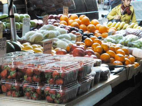 A snapshot of a fruit seller's table adjacent The New York Times office.  How often do you rely on street vendors for lunch?