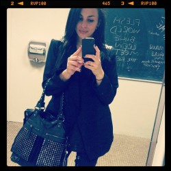 Ladies room pic of the day. #me #fashion #studs #blazer #black #style  (Taken with Instagram)