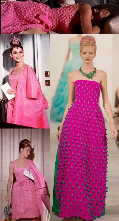 "Audrey Hepburn's pink dress in ""Breakfast at Tiffany's"" versus Oscar De La Renta ss 2013"