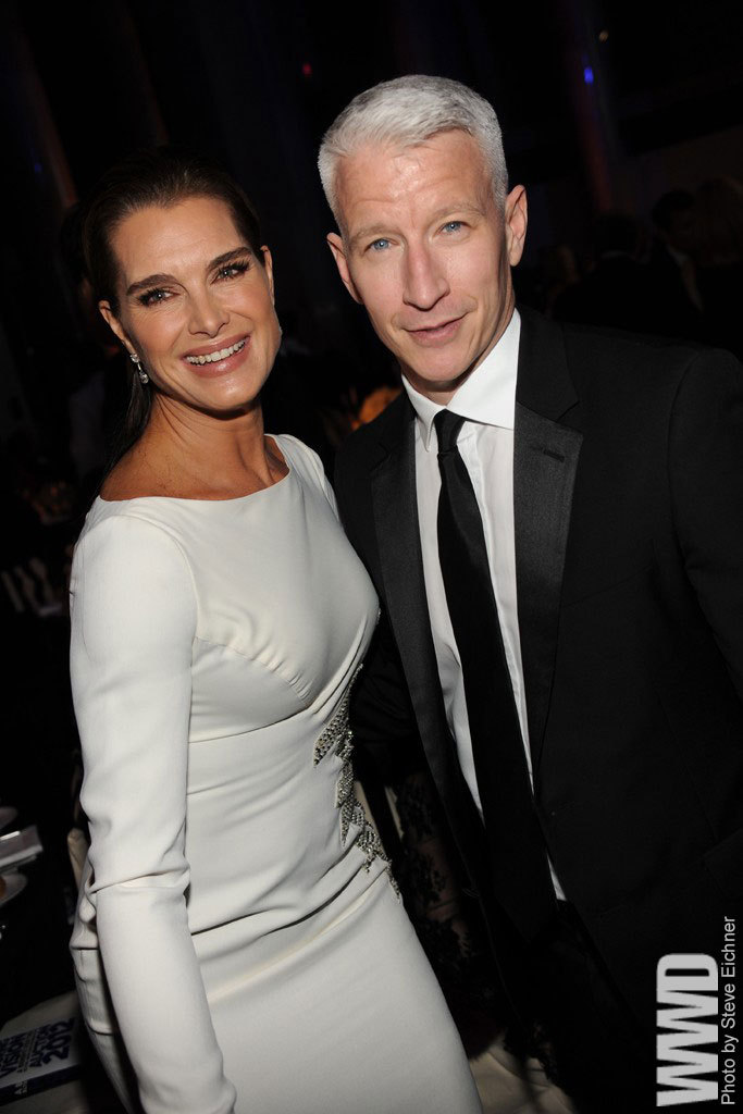womensweardaily:  Brooke Shields and Anderson Cooper.