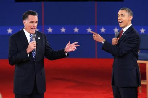 Photo of the Day: Mitt Romney and President Obama speak directly to each other during the second presidential debate in Hempstead, New York, October 16, 2012.  via