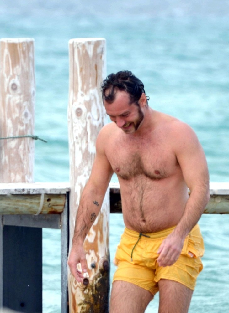 Jude Law half naked, hairy