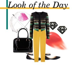 Look of the Day H&M  jacket, $56 Diane von Furstenberg high rise pants, $325  Ted Baker bowler bag, $165  Stud earrings, $10 Felix Rey clear umbrella, $65  Lip gloss, $12