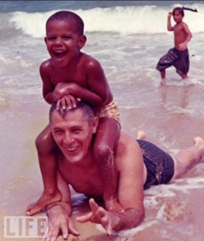 Barack Obama, 3 Years Old, With Grandfather, 1965