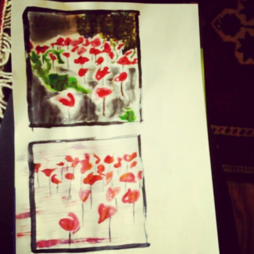 Just playing with a watercolour set, painting flamingoes.  (Taken with Instagram)