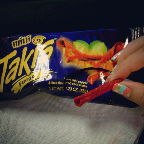 my co-worker brought me mini takis fuego after I told her I liked hot cheetos. omg. #takis #hotcheetos #snacktime #lime #fuego #minitakis #braidedmani #mani (Taken with Instagram)