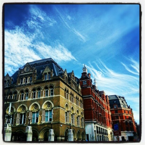 Liverpool street station, London this afternoon. #sky #skyline #clouds #London #station (Taken with Instagram)