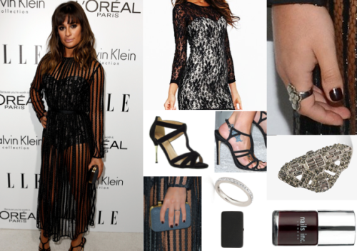 Dress Like Lea Michele: 19th Annual ELLE Women In Hollywood Celebration Large Hard Frame Purse £20.00/$40.00 Women's Heel T-Bar Cross Strap £20.00 Motel Contrast Bodycon Lace Dress £58.00 Rhinestoned Cutout Ring £5.65 Match and Dazzle Crystal Ring £25.00 Nails Inc. £11.00