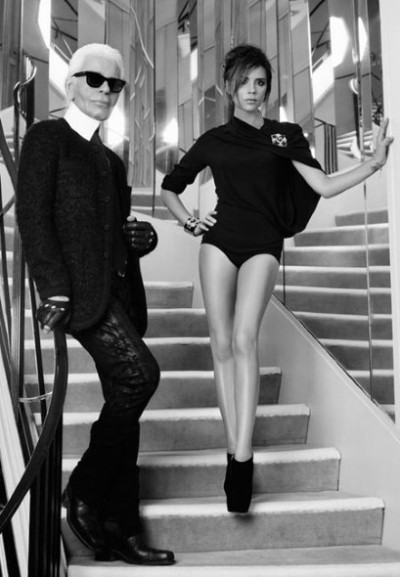 Victoria Beckham poses with Karl Lagerfeld at Coco Chanel's famous home for an upcoming issue of French Elle … see more here