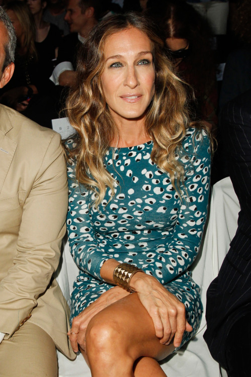 SJP looking chic front row at DVF Spring 13.