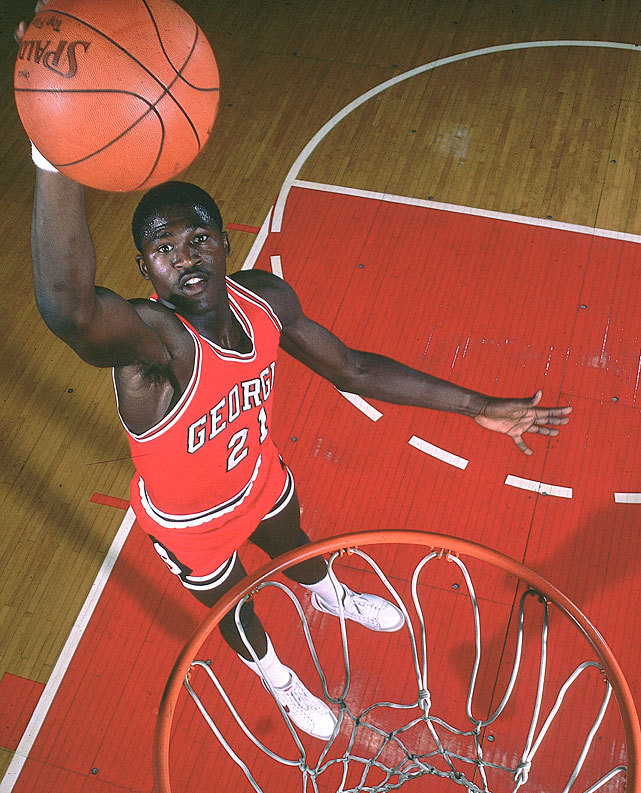 University of Georgia forward Dominique Wilkins dunks during a 1981 SI Photo shoot at Stegemen Coliseum in Athens, Ga. (Manny Millan/SI) SI VAULT: Wilkins turned down pros for one more year at UGA (11.30.81)