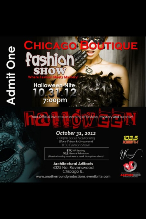 Looking for something fun to do for Halloween?  Join me at the Chicago Boutique Fashion Show at Architectural Artifacts.  Tickets are available at https://anotherroundproductions.eventbrite.com/
