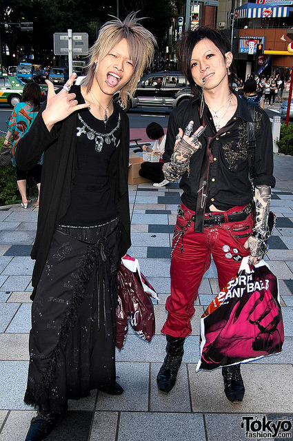 Amazing Japanese Guys by tokyofashion on Flickr.Via Flickr: Two awesome Japanese guys giving me a serious 80's metal vibe outside of LaForet Harajuku during the Summer 2010 Grand Bazar.