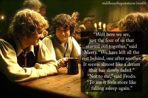 - Merry and Frodo, The Return of the King, Book VI, Homeward Bound