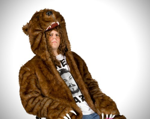 thedailywhat:  Bear Coat of the Day: In the spirit of legitimacy, no zippers or buttons. [theroosevelts]  This doesn't look as cute as the one Blake wore. I should make my own bear coat but without the head because I'm terrible with faces.