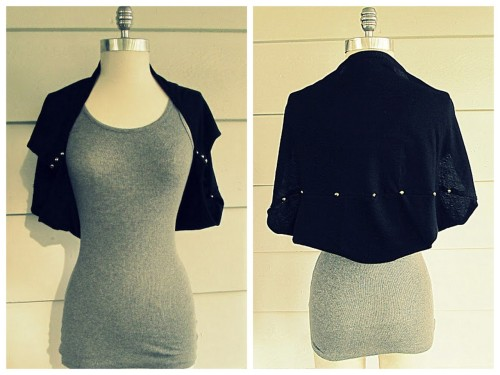 DIY Tee Refashioned into a Studded Shrug Tutorial from Wobisobi. This is a really easy and practical DIY using the bottom of a tee shirt. For more really unique tee shirt restyles and easy DIY jewelry from Wobisobi go here: truebluemeandyou.tumblr.com/tagged/wobisobi