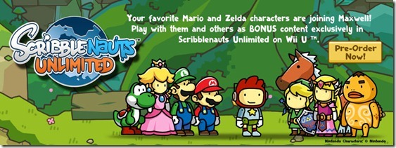 "There it is, as predicted: Yoshi's butt is in Scribblenauts Unlimited — along with the rest of the dinosaur, the Mushroom Kingdom troupe, and and the Zelda gang. The game will have ""dozens of characters and items"" (e.g. mushrooms, karts) from Nintendo's two big franchises. The text says this is Wii U-exclusive, which is odd. I didn't expect it on the PC version, but what about 3DS? Buy: Super Scribblenauts, Scribblenauts UnlimitedSee also: More Scribblenauts Unlimited news and media[Via Siliconera]"