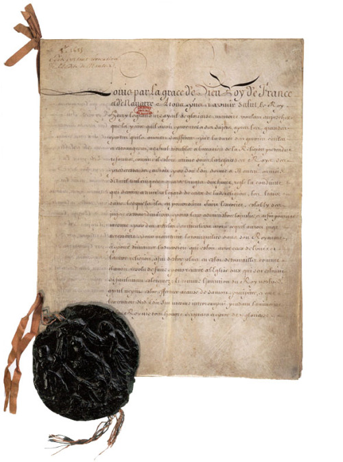The edict of Fontainebleau, revocation of the edict of Nantes, 1685. @credits  By the Edict of Fontainebleau, Louis XIV revoked the Edict of Nantes and ordered the destruction of Huguenot churches, as well as the closing of Protestant schools. This policy made official the persecution already enforced since the dragonnades created in 1681 by the king in order to intimidate Huguenots into converting to Catholicism. As a result of the officially sanctioned persecution by the dragoons who were billeted upon prominent Huguenots, a large number of Protestants — estimates range from 210,000 to 900,000 — left France over the next two decades. They sought asylum in England, the United Provinces, Sweden, Switzerland, Brandenburg-Prussia, Denmark, the Habsburg's Holy Roman Empire, South Africa and North America. They left without money, but took with them many skills. In the host nations they established small businesses and their new ideas revitalised indigenous industries.