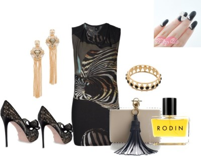 Untitled #281 by stizzy featuring rodinEdun twist dress, $390 / Valentino high heel shoes / Sergio Rossi clutch purse / Alexis Bittar clip on earrings / Lulu Frost cuff jewelry / Rodin , $260 / Nail care
