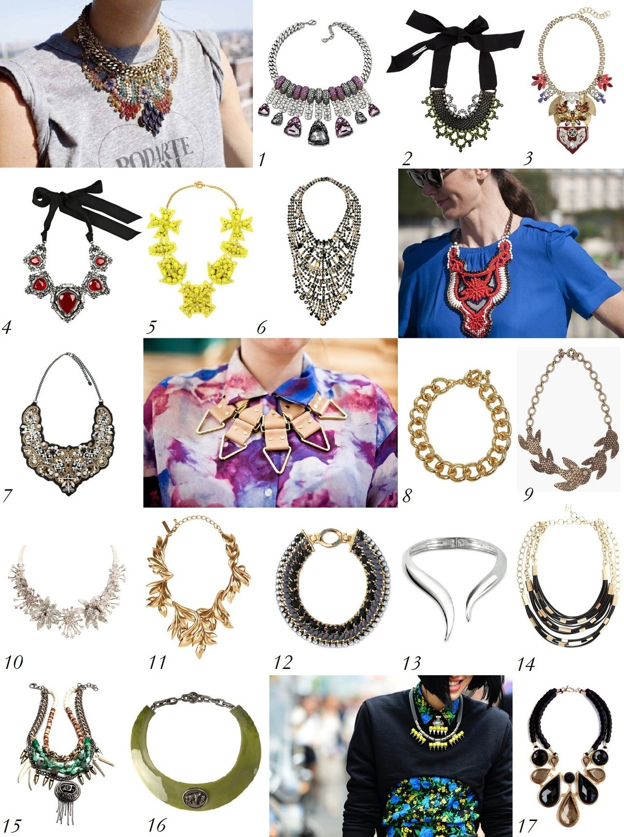 Trend Watch: Bold Necklaces The biggest jewelry trend (both literally and figuratively) this fall is, without a doubt, bold necklaces. Helmed by street style icons like Miroslava Duma and Leandra Medine, large ornate necklaces have caught on with a vengeance and were a constant presence outside shows in New York, London, Milan, and Paris this fashion month. We love these large and in charge necklaces as the perfect fall jewelry that won't get lost in the weave of heavy knit sweaters like their more delicate counterparts might.  1. Swarovski 2. Paula Bianco 3. Lulu Frost for J Crew 4. Lanvin 5. Heaven Tanudiredja 6. Tom Binns 7. Zara 8. Michael Kors 9. Alexander McQueen 10. Oscar de la Renta 12. Stella & Dot 13. Giuseppe Zanotti 14. BCBG 15. Dannijo 16. Bimba & Lola 17. Moran Porat How will you be wearing this trend?