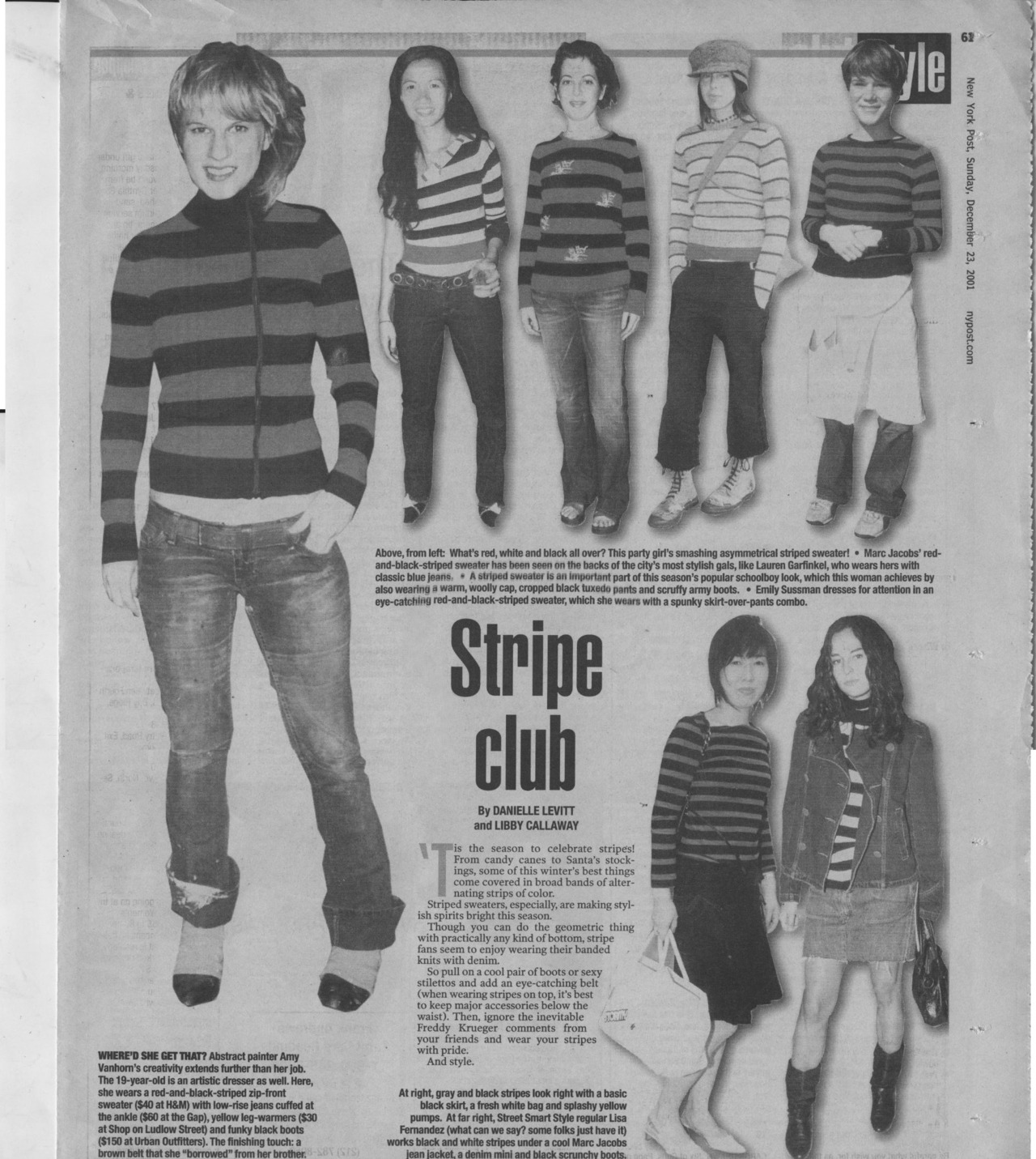 What do Jean Seberg, Waldo, and Freddy Kruger all have in common….?STRIPES!! Todays NY POST FASHION is all about the stripes! Don't be afraid, GET YOUR STRIPE ON!