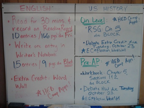 Block Day 10/17/12 and 10/18/12 HW.