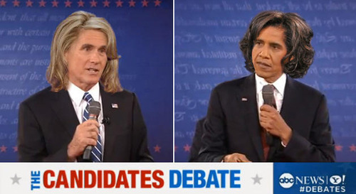 Obama: GUrl, your hair is so ratchet Romney: Bitch, your tracks are all messed up