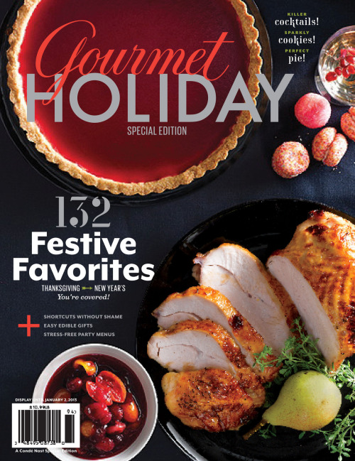 New Gourmet Holiday Special Edition on Sale Gourmet's Kemp Minifie on the latest special edition of Gourmet:  When I get really excited about something, I can't stop talking about it.  Just ask my family.  That's been the case with Gourmet Holiday, the latest Special Edition of Gourmet, now on newsstands around the country. During the past three months of work on it, I've been raving to my husband and daughters about all the great recipes, entertaining ideas, cooking tips, and strategies our team managed to cram into 128 luscious pages. Now I'm free to redirect my enthusiasm for the book towards you. (It's none too soon for my husband and daughters.) Let's just say you can count on Gourmet Holiday to have your back this season. And just in time. New ways to cook the turkey? Check! Forgive me for boasting, but I'm jazzed about an approach I devised that brings out the best in the breast meat, thighs, and drumsticks. Separately. And don't pass up the bonus recipe that turns turkey skin into cracklings that give bacon a run for its money. Prefer to stick to tradition with your big bird? Check! We've got a southern belle that will charm you.  keep reading