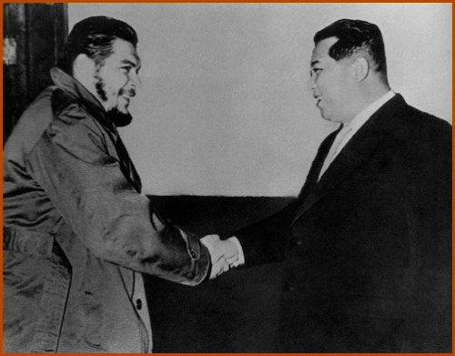 "Latin American revolutionary Ernesto ""Che"" Guevara meets with Kim Il Sung, the founder of the Democratic People's Republic of Korea."